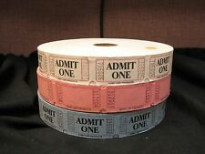 1 Roll of Admit One Tickets - Carnival / Raffle - 2000 Tickets - Various Colors