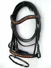 """NEW""Dressage leather bridle MAROON/GOLD Cryastal comfort poll noseband black"