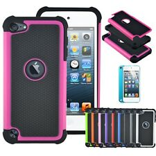 Rugged Shield Heavy Duty Armor Rubber Case Cover For Apple iPod Touch 5 6 th Gen