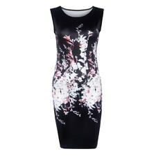 Sexy Women Hot O Neck Sleeveless Floral Print Slim Mini Summer Hip Party Dress