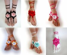 New Barefoot Beach Sandals Crochet Anklet Flower Wedding Yoga Shoes Foot Jewelry