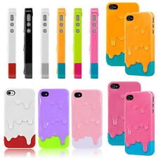 3D Melt Ice Cream Colorful Snap On Back Hard Case Cover For Apple iPhone 4S 5S