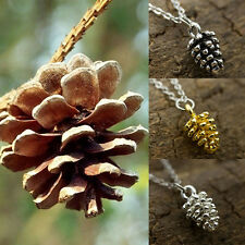 Women Simple Pretty Pine Cone Charms Necklace Forest Nature Pendant Nice Jewelry