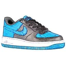 Nike Air Force 1 Low - Boys' Preschool Basketball Shoes (Black/White/Star Blue)