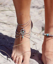 Boho slave drape chain foot ankle jewelry chain, anklet, beach barefoot sandals