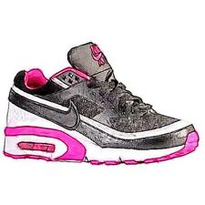 Nike Air Max BW - Girls' Primary School Running Shoes (Black/Pink Blast/White)