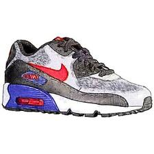 Nike Air Max 90 - Boys' Primary Sch. Sch. Running Shoes (Wolf GY/DK Purple Dust