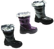 CHILDRENS GIRLS FAUX FUR LINED WINTER SNOW/MOON/RAIN BOOTS SIZES UK 12-5