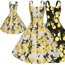 Vintage Print Floral Lemon 50s 60s Retro Swing Rockabilly Dress Hepburn Plus 4XL