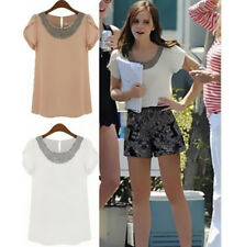 T-Shirt Blouses Tops New Summer Short Sleeve Women Casual Hot Plus Size Chiffon