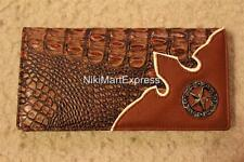 Faux Alligator Crocodile Leather WESTERN CHECKBOOK RODEO WALLET CAST STAR CONCHO