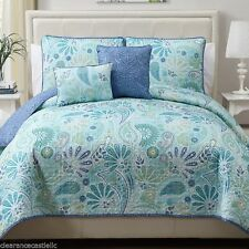 NEW Full Queen King Bed Blue Paisley Floral 5 pc Quilt Coverlet Set Reversible