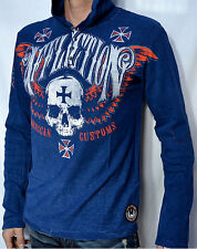 Affliction American Customs SAINTS FLAG Men's Hooded Henley - NEW - A5514 - Navy