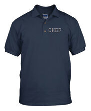 Silver Letters Chef Embroidery Embroidered Golf Polo Shirt