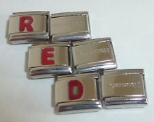 RED LETTERS 9mm Italian Charm & 1x Authentic Nomination Classic Link ALPHABET