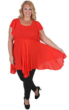 New Plus Size Red Hanky Hem Flare Out Top | Sizes 18 20 22 24 26 28 Curvaceous