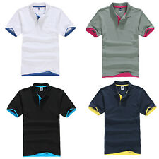 Fashion Men's Summer Slim Fit Short Sleeve Casual Solid Polo Shirts T-shirt Tops