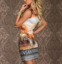 Sexy Dress Sleeveless Women Vintage Print Chain Retro Dress Flower Feather Mini