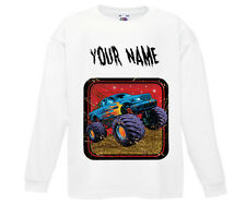 PERSONALISED MONSTER TRUCK LONG SLEEVE T-SHIRT TOP PRINTED WITH ANY CHILD'S NAME