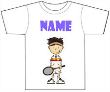 PERSONALISED TENNIS BOY T-SHIRT PRINTED WITH ANY CHILDS NAME GIRLS/BOYS
