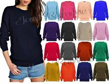 New Women Plain Chunky Knitted Baggy Oversize Fit Jumper Long Sleeve Sweater Top