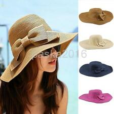 Wide Brim Hats Women Floppy Cap Sun Hat Bowknot Foldable Straw Hat with String