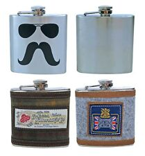 Stainless Steel Vintage 6 Ounce Hip Flask, Gift Box - 5 Designs