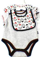 DISNEY Baby Infant Mickey Mouse Bodysuit Outfit Set Bib Size 3-6 Months