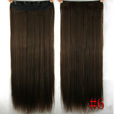 100g 16''~26'' 5Clips One Piece Clip In Real Human Hair Extensions Medium Brown