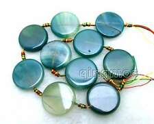 """SALE Big 28mm Coin Round Natural Green Striped agate Loose Beads strand 15""""-l663"""