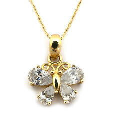 14k Yellow/White Gold Butterfly w Cubic Zirconia Wings Pendant Necklace