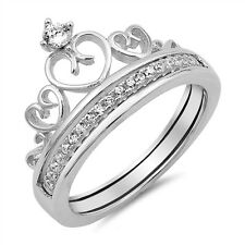 .925 Sterling Silver Royal Heart Crown Cubic Zirconia Fashion Ring Size 5-10 NEW