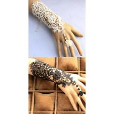 Wedding Bridal Lace Wrist Cuffs Fingerless Embroidered Glove Bracelet with Ring