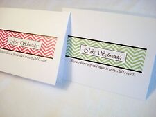 12 Personalized Chevron Thank You Note Cards Stationery & Envelopes Teacher Gift