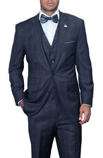 Mens Navy Blue Plaid Three Piece Wool Suit With Ticket Pocket