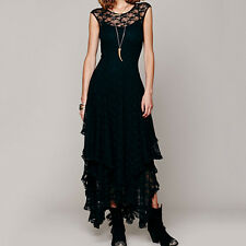 Women Sexy Vintage Party Evening BOHO Bodycon Maxi Long Slim Sheer Lace Dress