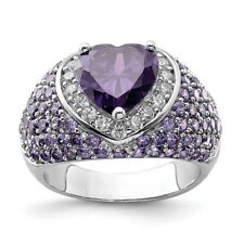 Sterling Silver Heart Shaped Purple & Clear CZ Ring 7.74 gr Size 6 to 8