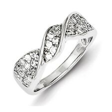 Sterling Silver Clear CZ Twisted Ring 3.96 gr Size 6 to 8