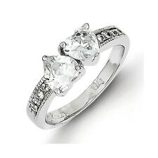 Sterling Silver Clear CZ Double Hearts Ring 3.15 gr Size 6 to 8