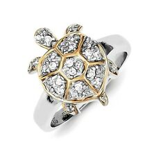 Sterling Silver Turtle Ring Clear CZ and Gold-Plated Trim 4.75 gr Size 6 to 8
