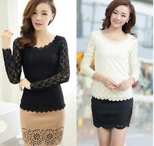 Blouse Fashion Casual Women Lace Top Stretch Ladies Long Sleeve  T-Shirt O-neck