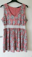 Women Size 18 Pink Coral White Lace Floral Summer Skater Dress New Look Plus Siz