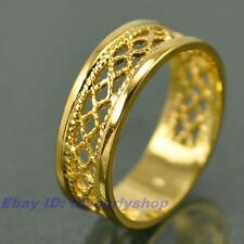 SIZE 7,8,9# ELEGANT WOVEN BAND 18K YELLOW GOLD PLATED RING SOLID FILL GEP f17