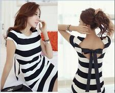 New Hollow Slim Black and White Dress Bow Sexy Bow back dress Fashion Striped