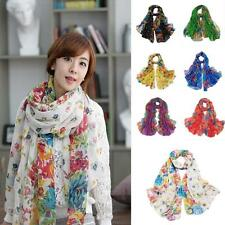7 Colors Lady's Warm Cozy Floral Print Voile Scarf Chiffon Neck Wrap Shawl Scarf
