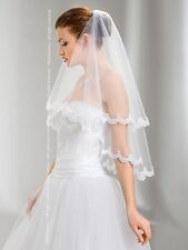 Wedding Veil Elbow Length Lace Edge Comb Attached W-49