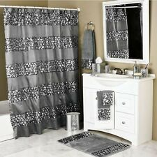 NEW Silver Gray Sequin Glam Shower Curtain Fabric Bathroom Hooks 72 in Elegant
