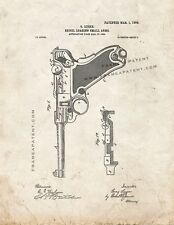 Luger Recoil Loading Small Arms Patent Print Old Look