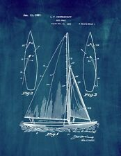 Sailboat Patent Print Midnight Blue