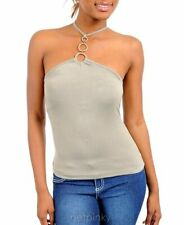 Junior Trendy Stretch Form Fitting O-Ring Halter Top Blouse